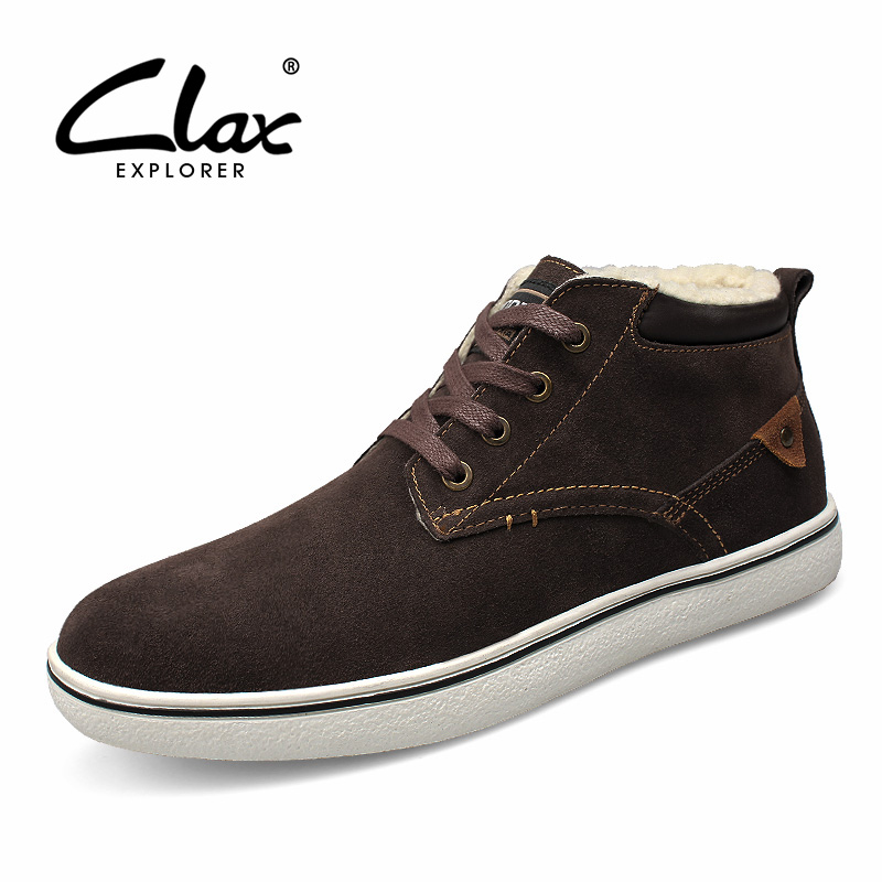 CLAX Men Winter Boots Plush 2017 Suede Leather Ankle Boot for Male Fur Snow Shoes Warm Casual Footwear Handmade  plush casual suede shoes boots mens flat with winter comfortable warm men travel shoes patchwork male zapatos hombre sg083