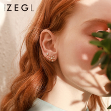 ZEGL statement snowflake u-shaped ear cuff womens clip on earrings personality simple gold