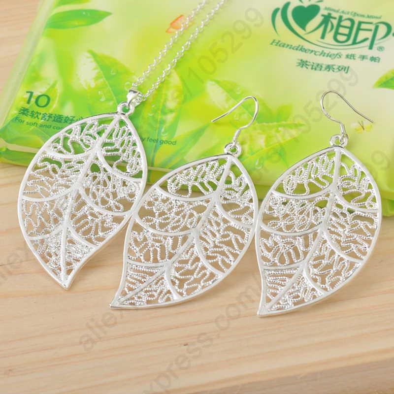 "Promosi 925 Sterling Silver Perhiasan Set untuk Wanita Daun Anting-Anting Hook dan Daun Liontin Kalung 18 ""Singapura Rantai"