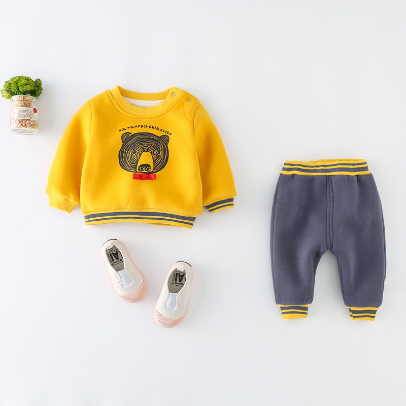 Baby boy clothes For Newborns 2018 Autumn Winter Warm Wool Long Sleeve Sweater Suit Baby Girl Sets Kids Infant Casual Clothing