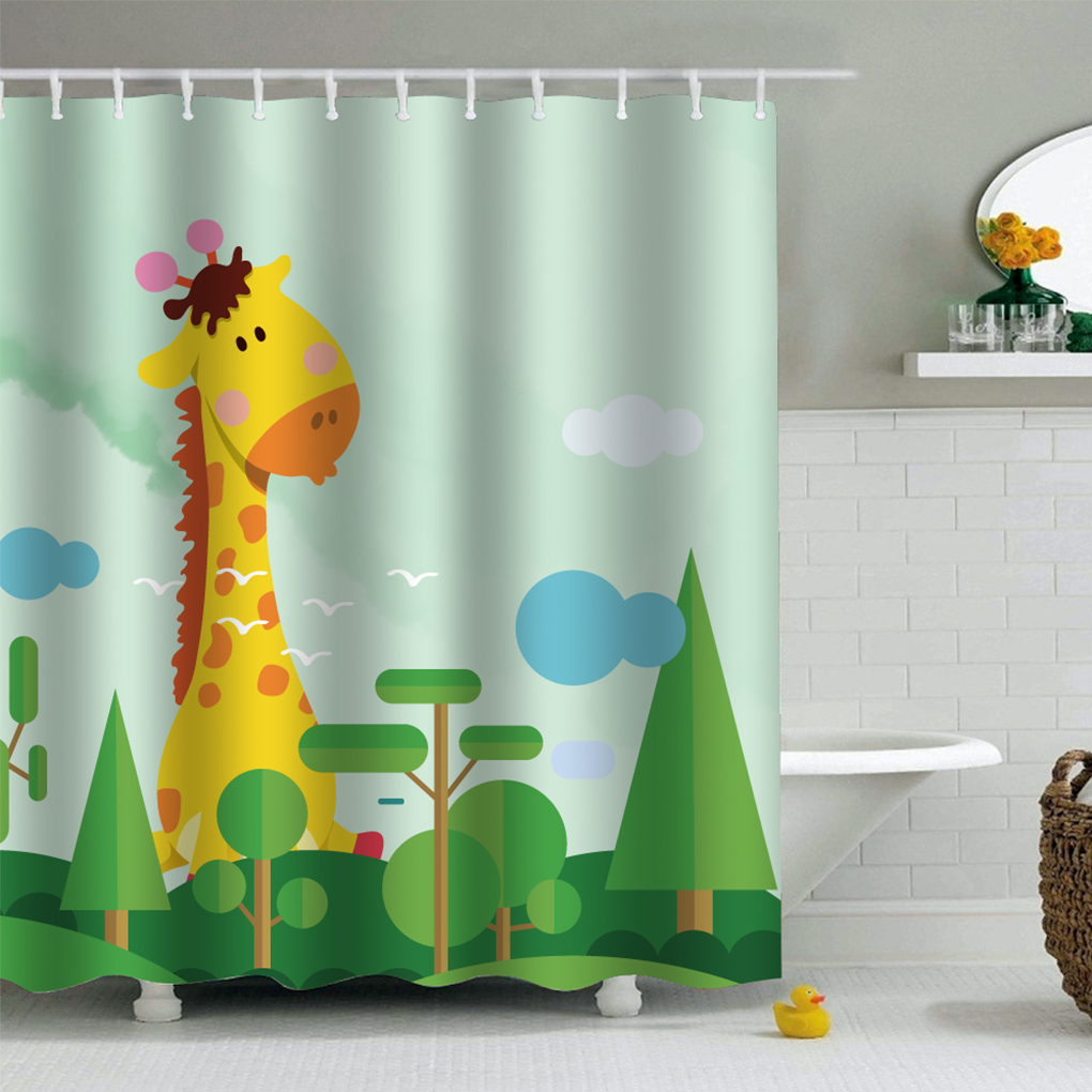 180x180cm/200x200cm PEVA Animal/Figure Print Shower Curtains Waterproof Moistureproof Ho ...