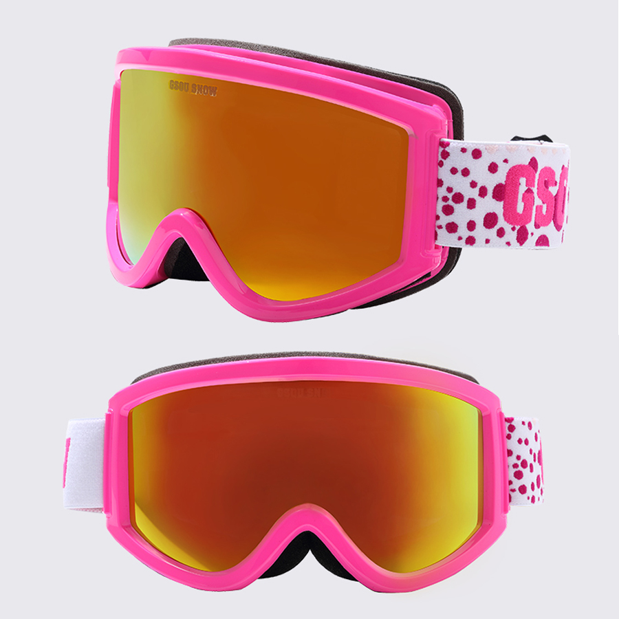 Gsou snö dubbla lager stora sfäriska objektiv män kvinnor skidglasögon 100% UV-skydd Anti-dimma skidåkning glasögon myopi snöglasögon