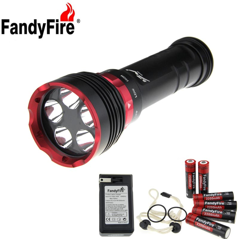 FandyFire XM-L2 U2 5-LED 3-Mode Cool White Diving Flashlight - Black trustfire t90 2 luminus sst 90 5000lm 5 mode cool white flashlight black 3 x 26650