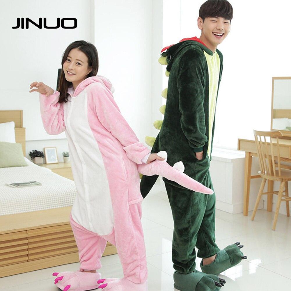 JINUO Brand Christmas Pajamas Winter Adult Clothing Girls Animal Dinosaur Adult Sleepwear Onesie Pajamas Costume Men Bedding