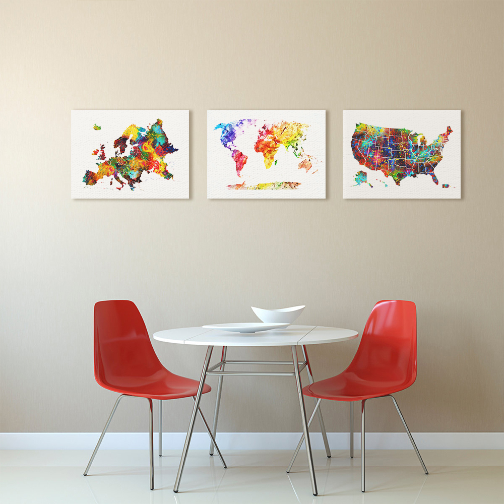 Online Get Cheap State Map Art Aliexpresscom Alibaba Group - United states watercolor map