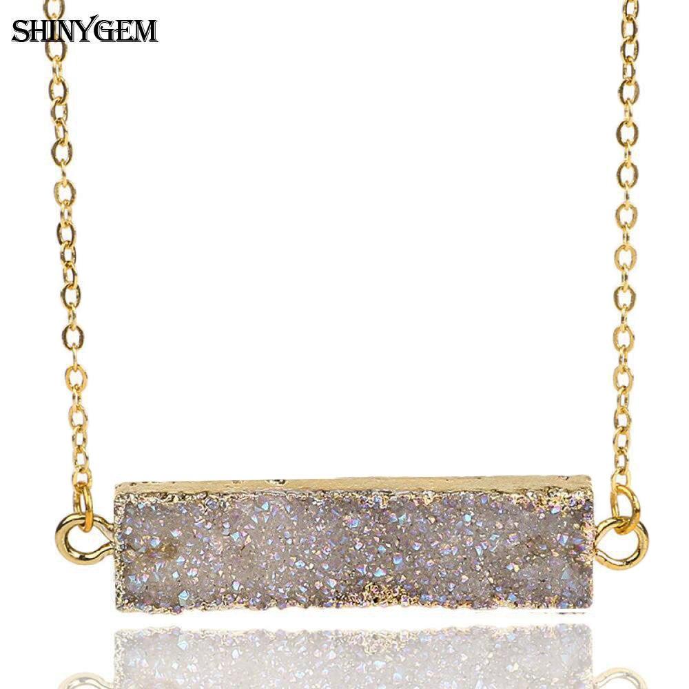 Shinygem Scheibe Druzy Anhänger Halsketten Gold Überzug Funkelnden Mineral Kristall Halsketten Chakra Natürliche Stein Halsketten Für Frauen Halsketten & Anhänger