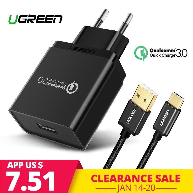 Ugreen USB Ladegerät 18 W Quick Charge 3,0 Handy Ladegerät für iPhone Schnelle QC 3,0 Ladegerät für Huawei Samsung galaxy S9 + S8 +