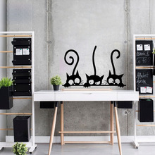 Lovely 3 Black DIY Cute Cats Wall Sticker Moder Cat Stickers Girls Vinyl Home Decor Living Room Children
