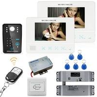 7 rfid wachtwoord видео deurtelefoon домофон systeem deurbel камеры 1000tvl 2 монитор + elektrische падения домофоны