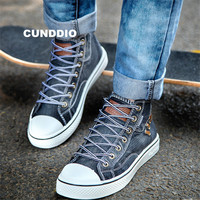 New Couples High top Denim fabric canvas shoes Sneakers Women Flat leisure shoes tenis feminino Casual size 35 44 zapatos mujer
