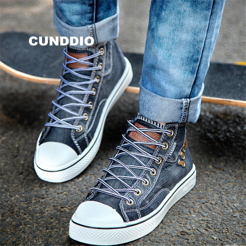 New Couples High top Denim fabric canvas shoes Sneakers Women Flat leisure shoes tenis feminino Casual size 35-44 zapatos mujer e lov women casual walking shoes graffiti aries horoscope canvas shoe low top flat oxford shoes for couples lovers