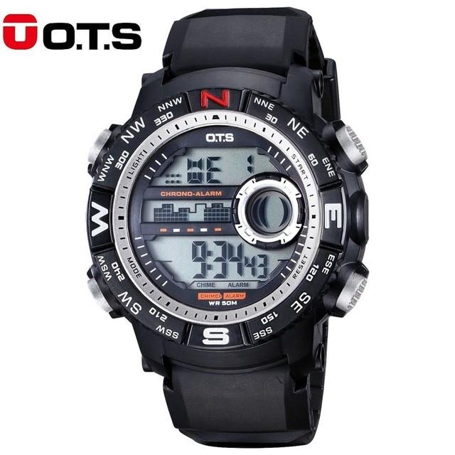 OTS Reloj LED Hombres Digital Deporte Al Aire Libre Relojes Militares De Los Hombres A Prueba de agua Electrónica Reloj de Pulsera Para Hombre Relojes de Primeras Marcas de Lujo