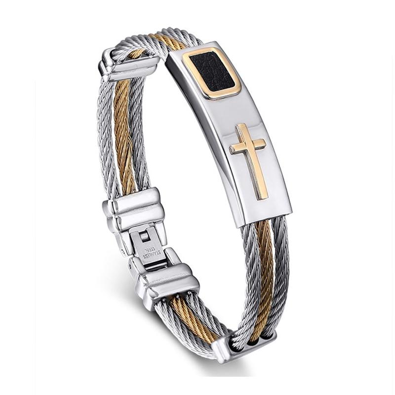 Aliexpress.com : Buy 2016 New Gold Jesus Cross Bracelet Men Jewelry Stainless Steel ...