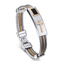 2016 New Gold Jesus Cross Bracelet Men Jewelry Stainless Steel Mens Rock Bracelets & Bangles Leather Pulseira Masculina YK3020