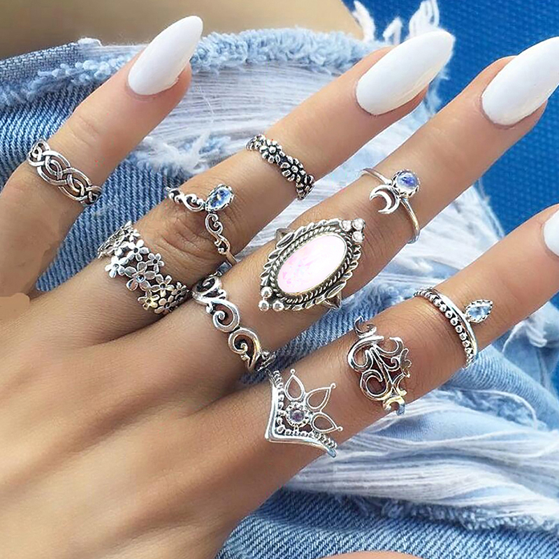 10 Pcs/ Set Women Exquisite Hollow Flowers Wave Yoga Om Crown Moon Gems Crystal Silver Ring Set Fashion Clothing Charm Jewelry