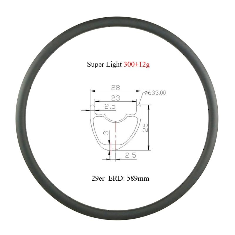 Super light 300g 29er MTB XC 28mm asymmetry tubeless 25mm deep hookless carbon rim 29 inch