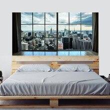 Манхэттен, Нью Йорк, пейзаж города, плащ, спальня, телевизор, стена, гостиная, фон, настенные бумажные наклейки