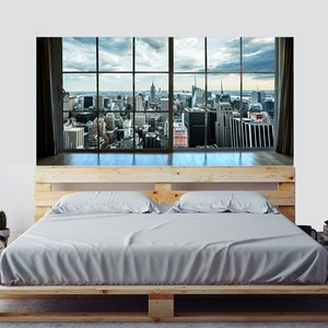 Image 1 - Manhattan New York City Scene City Scape Bedroom TV Wall Sitting Room Background Wall Paper Stickers