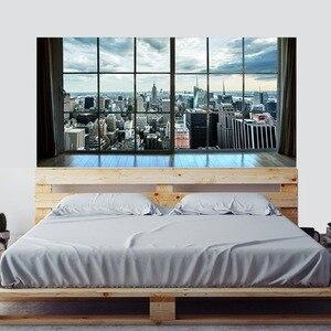 Image 1 - Manhattan New York City Szene Stadt Scape Schlafzimmer TV Wand Wohnzimmer Hintergrund Wand Papier Aufkleber