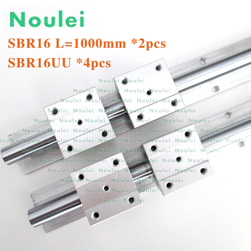 2pcs SBR16 L1000mm Linear shaft rail support + 4pcs SBR16UU Linear bearing blocks sbr16 linear guides l 1000mm linear shaft rail support sbr16uu linear bearing blocks
