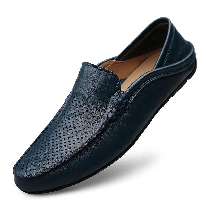 De 2018 Black Simple blue blue Hollowed Mocassins En black Hollowed Loisirs Chaussures Valstone Hommes Hollowed Slip on Été Frais Appartements Cuir Lumière Travail Respirant yellow Doux yellow 4AjR53L