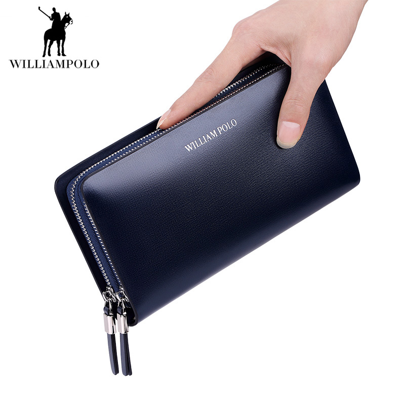 2018 Long Genuine Leather Men Wallets Credit Business Card Holders Double Zipper Cowhide Leather Wallet Purse Carteira Male Hand