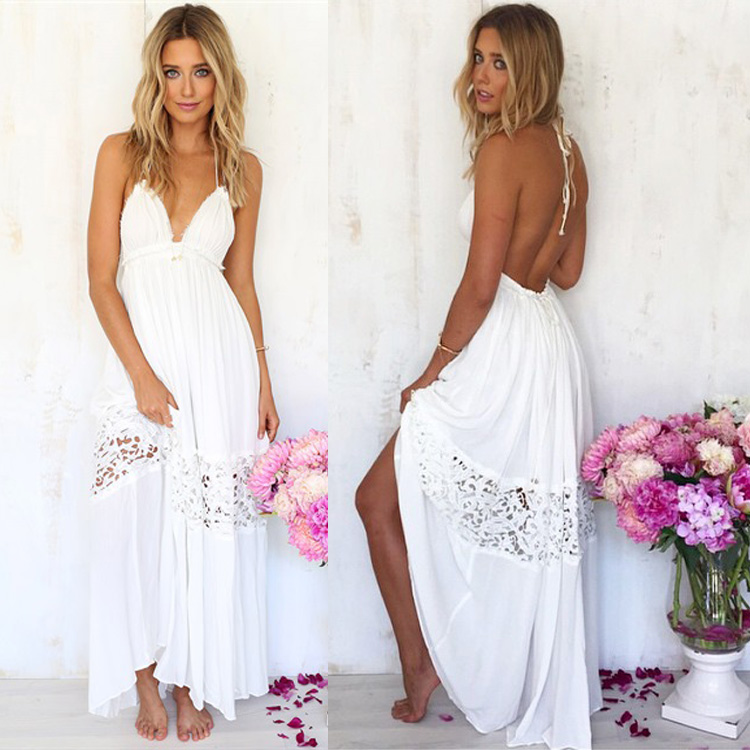 Sexy Women White Lace Party Summer Beach Backless Maxi Long Hobo