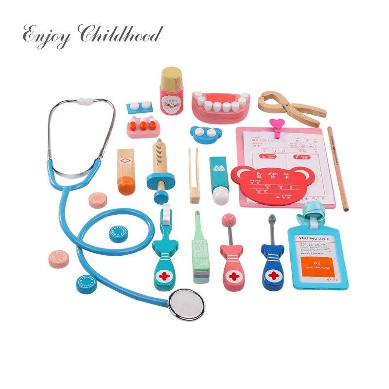 Cosplay de madeira Brinquedo Do Jogo Médico Role Play Brinquedos Clássicos Simulação Fingir Médico do Hospital acessórios Conjunto de Ferramentas de Presente Para As Crianças