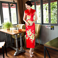 Free Shipping Keyhole Long Qipao Chinese Women's Clothing Velvet Cheong-sam Dress Cheongsam Qipao For Women 2 Style