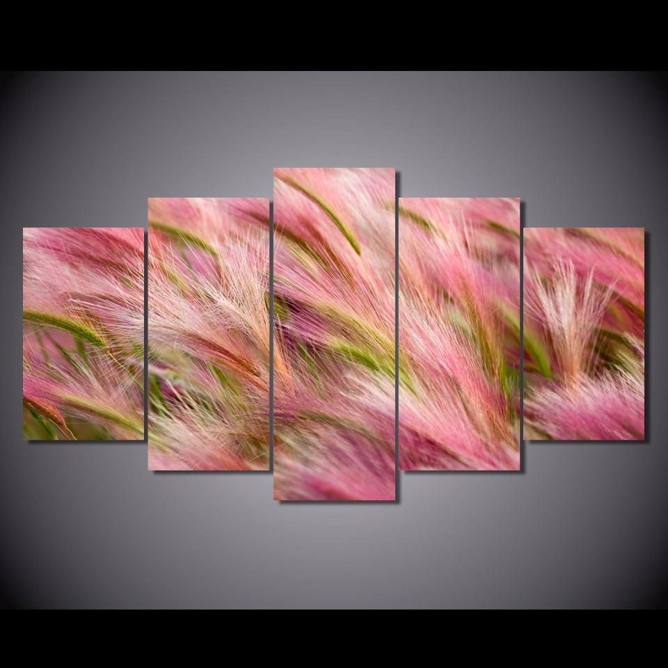 5 Teile/satz Gerahmte HD Gedruckt Ohren Wind Rosa Weizen Bild ...