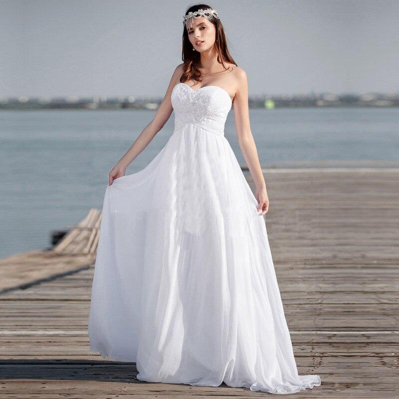 Una Línea de Precio Barato Vestidos de Boda de Playa de Novia Apliques de Novia