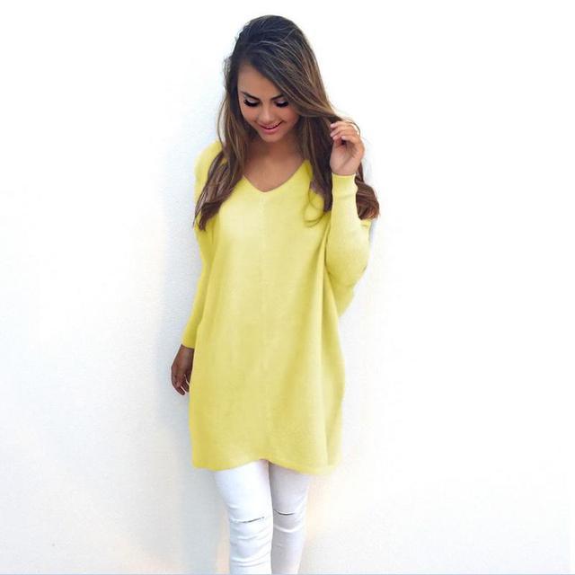 Venda quente 2016 Moda Outono E Inverno Com Decote Em V Longo-luva Casual Solto Pulôver Camisola Das Mulheres Agradável Sexy cor Diferente