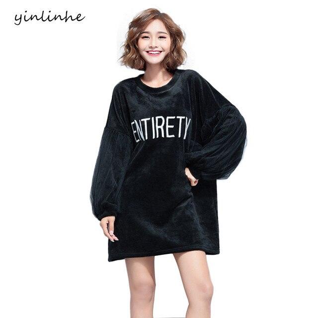 Yinlinhe Plus Size Women Black Velour Hoodies Dresses Winter Letter