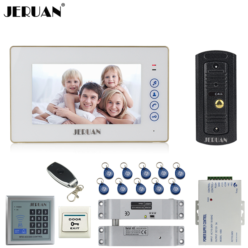 JERUAN Home Doorbell 7`` Touch key Video Door phone Intercom System kit 1 Monitor 700TVL IR Pinhole Camera RFID Access Control jeruan home 7 video door phone intercom system kit 1 white monitor metal 700tvl ir pinhole camera rfid access control in stock
