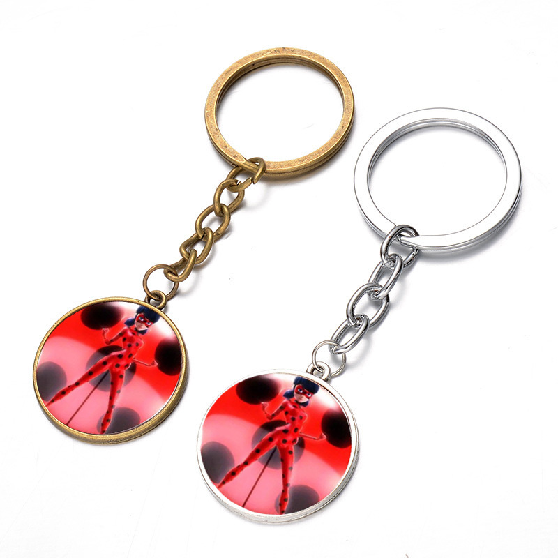 24 Pcs/Lot Cabochon Jewelry Accessory hot sale comic ladybug girl lady bug time glass glass pendant key ring Bulk Wholesale image