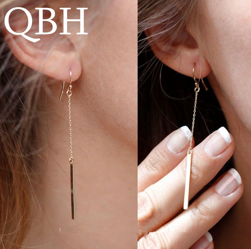 EK911 New Brand Chain Metal Bar Dangle Earing Wholesale Price Gold Color Long Tassel Strip Drop Earring For Women Jewelry