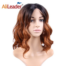 Alileader Synthetic Wigs For White And African Women 16 Inch Middle Part Cosplay Wig Body Wave Natural Black Lace Front Wig(China)