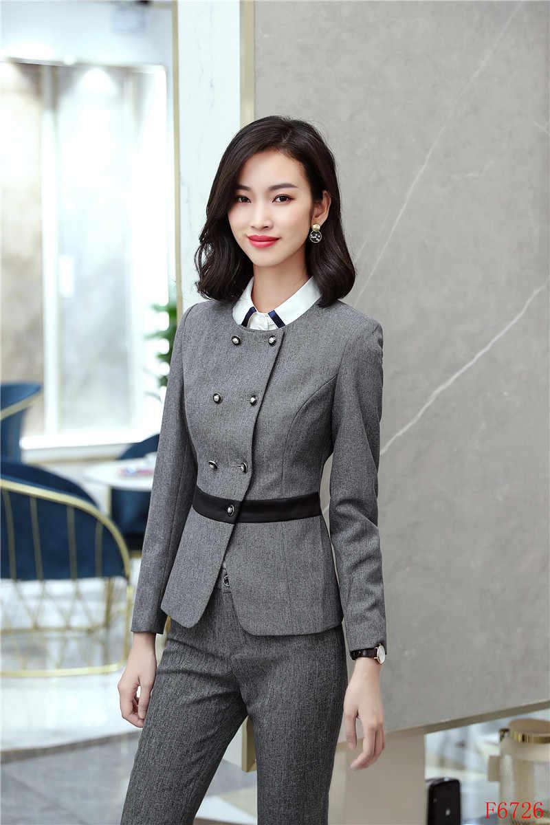 93f8aac97 ... 2019 Formal de las mujeres elegantes damas negro Blazer mujeres trajes  de negocios Oficina uniformes del ...