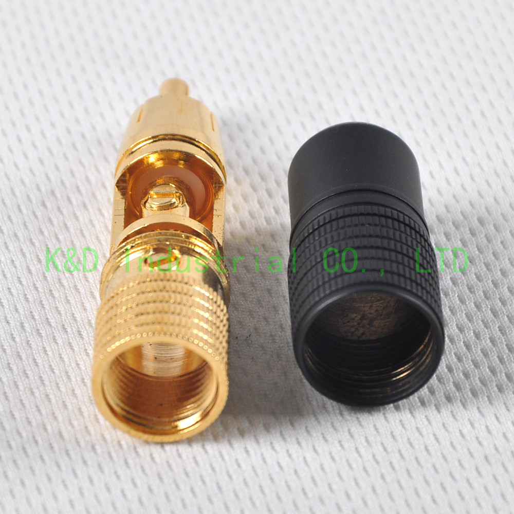 1pair RCA Plug Male Solder Locking Gold Plated Audio For Guitar Tube amplifier in Smart Power Socket Plug from Consumer Electronics