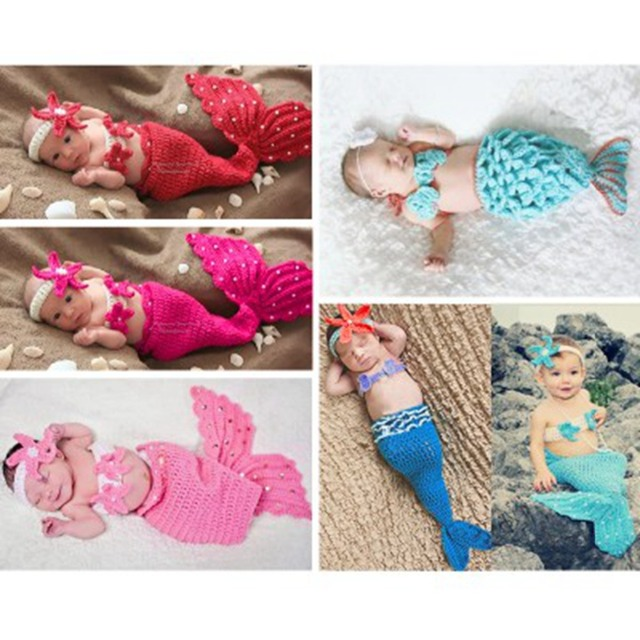 af54d2737cf iEFiEL Fashion Newborn Baby Girls Little Mermaid Soft Crochet Knit Costume  Baby Photo Props Fotografia Memory