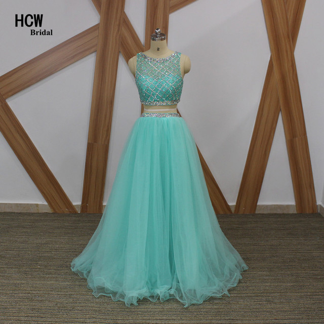 Light Blue Luxury Beaded 2 Piece Prom Dresses A Line See Though Back