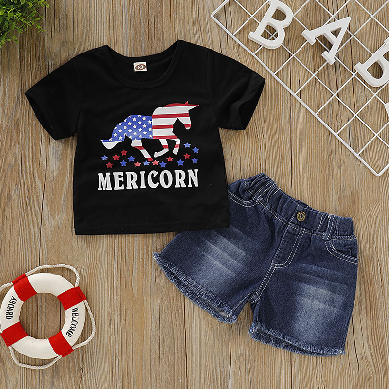 Baby Boys Clothes Summer Short Sleeve Cartoon Letter Print T shirt Tops Denim Shorts Casual Costume Set in Clothing Sets from Mother Kids