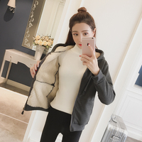 New 2017 Women Shirts Zipper Loose Hooded Upset Add Open Lambs Wool Fleece Blouse Shirt Gray