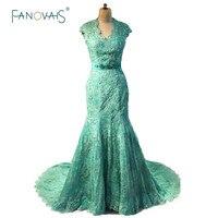 Emerald Xanh Cap Sleeve Cong Đường Viền Cổ Áo Tay Đính Cườm Ren Evening Dresses Với Sash Dài Evening Gowns Tòa Train ZED17