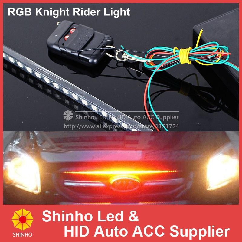 RGB 48 5050 SMD Scanning Knight Rider Light Bar Strip W// Remote Control Turn Signal Third Brake Light