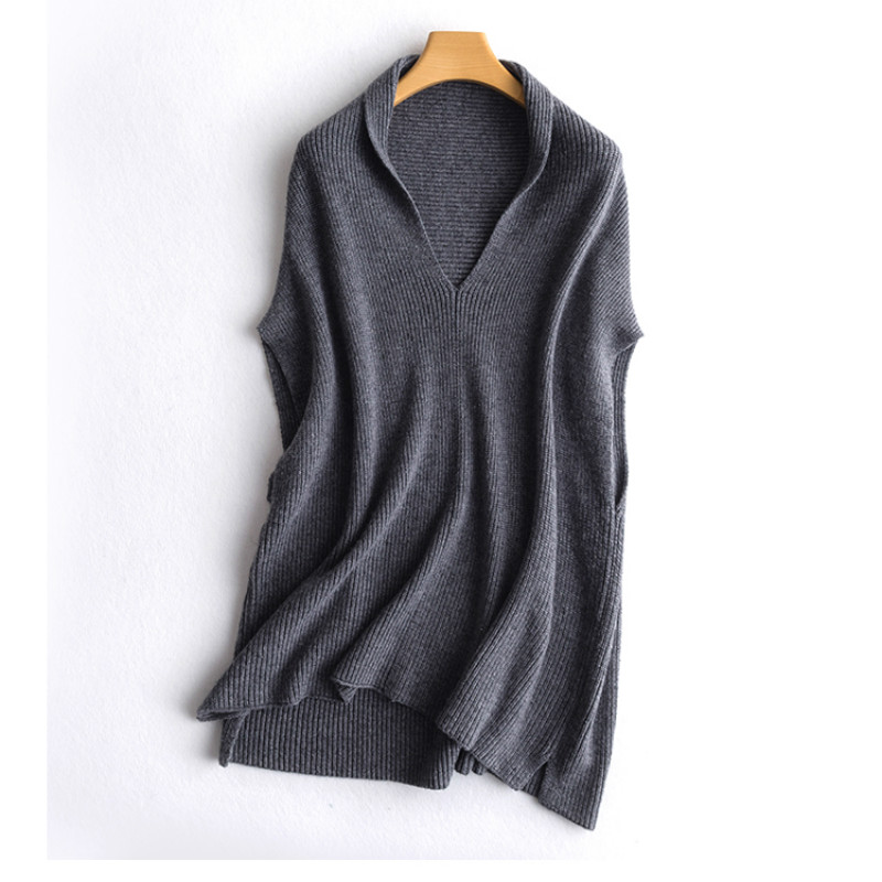 2019 New Autumn Winter Female Sweater 100% Cashmere Sweater Women Vest V- Neck Pullover Sleeveless Loose Wool Shawl