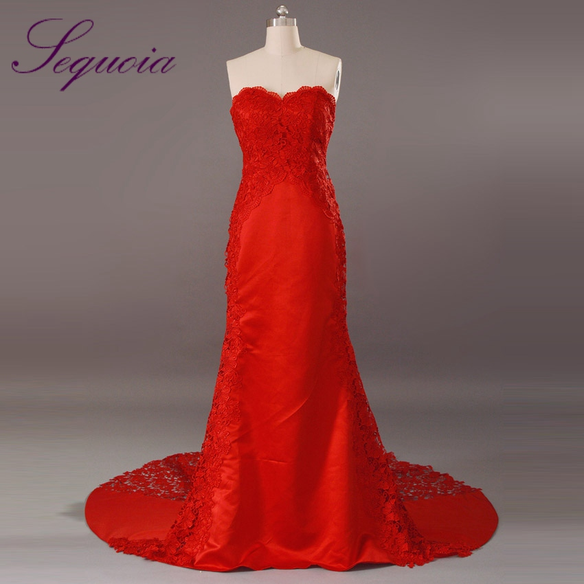 Top sale elegant sweetheart see through lace satin for Red and black wedding dresses for sale