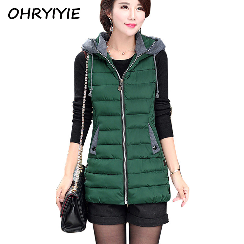 OHRYIYIE Autumn Winter Vest Women Waistcoat 2017 Female Sleeveless Jacket Hooded Warm Long Vest colete feminino
