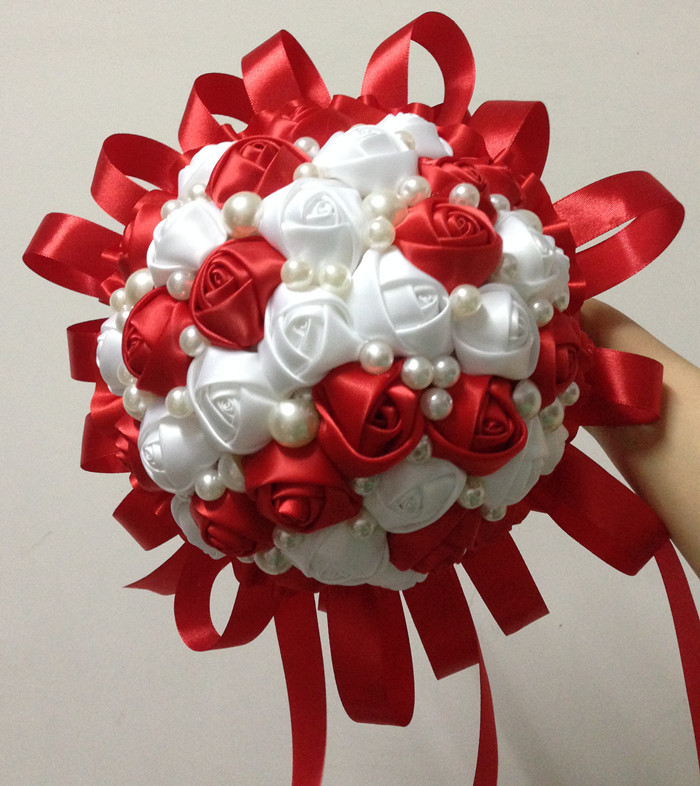DIY Handmade Wedding Bouquet Red White Ribbon Holding Flower ...