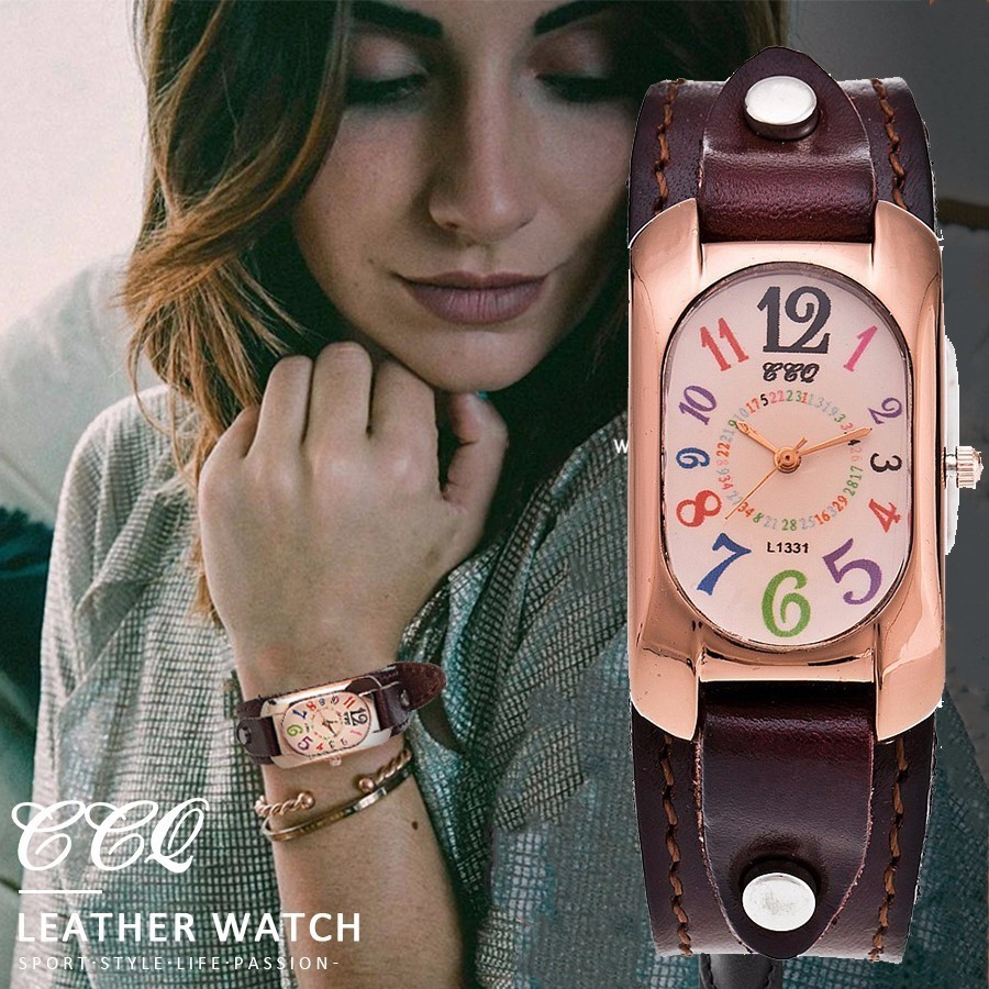 CCQ Brand Fashion Genuine Cow Leather Wrist Watch Analog Women Casual Vintage Quartz Wrist Watch Relogio Feminino Gift Hot